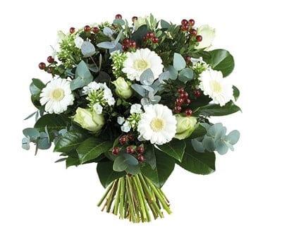 Bouquet de Flores Branco com Eucalipto