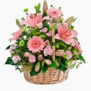 Cesta de Flores cor-de-rosa