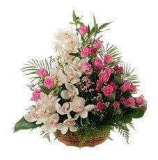 Cesta de Orquídeas e Rosas