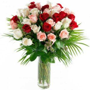 Jarra de 30 Rosas Romance Multicor