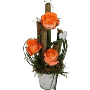 Pote de Zinco com Rosas Cor-de-Laranja