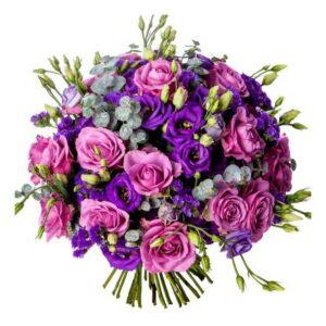 bouquet lisianthus e rosas
