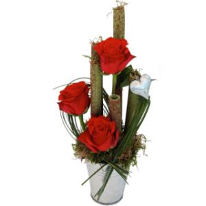 Pote de Zinco com 3 Rosas