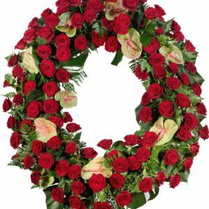 Coroa de Flores com Rosas e Anthuriuns